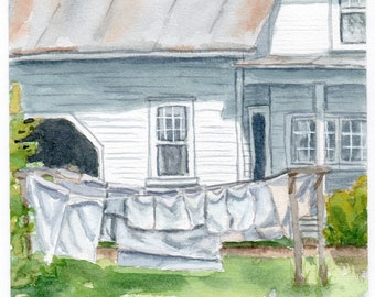 Laundry on the Line, Fine Art Gicleé Print of Watercolor Painting
