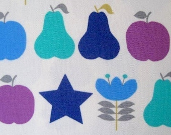 1 metre SALE - japanese fabric - apples, pears and flowers - green purple and blue