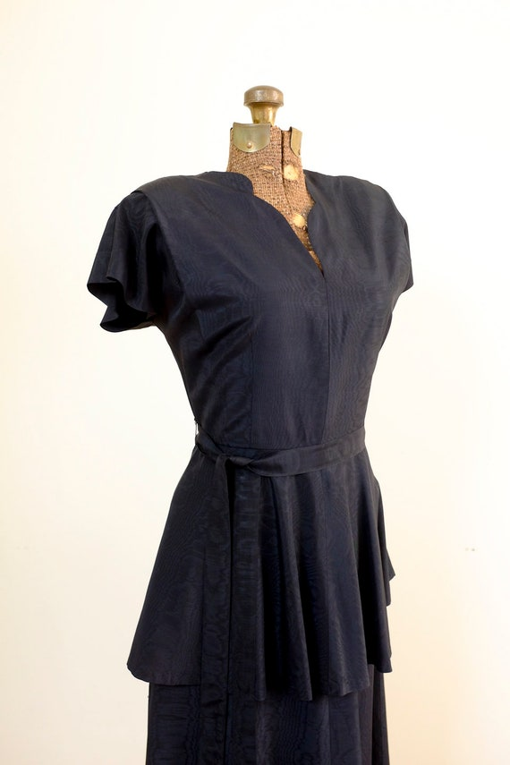 40's Black Peplum Moiré Dress/Small/Medium - image 10