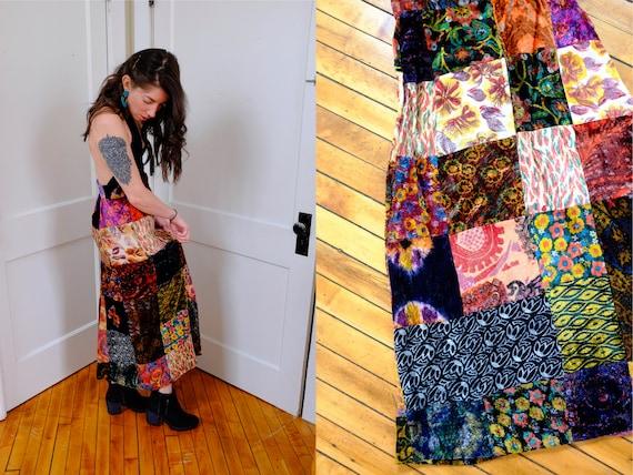 70's Boho Festival Silk Velvet Patchwork Skirt-Sma
