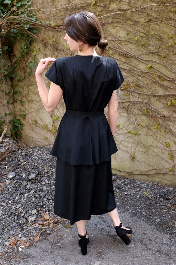 40's Black Peplum Moiré Dress/Small/Medium - image 4