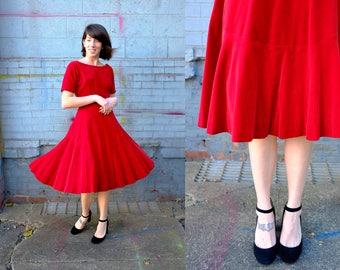 1950's Velvet Crimson Anne Fogarty Dress