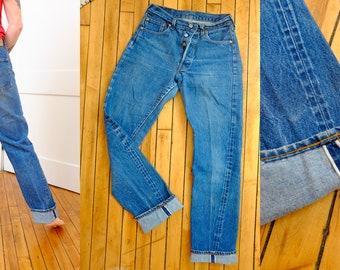 Levi Selvedge Denim 501 XX 29 Waist Medium Rise Rare Vintage Levis Button Fly Size Small Size 2-4 Red Line Levi's Bootleg Straight Leg
