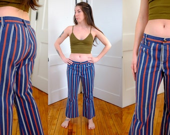 Striped AS IS Cropped Bell Bottom Pants, 1970's 70's Hippie Low Rise Flared Jeans, Size 4 Vintage Low Rise Bell Bottoms Small