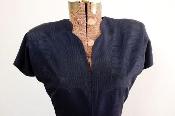 40's Black Peplum Moiré Dress/Small/Medium - image 9