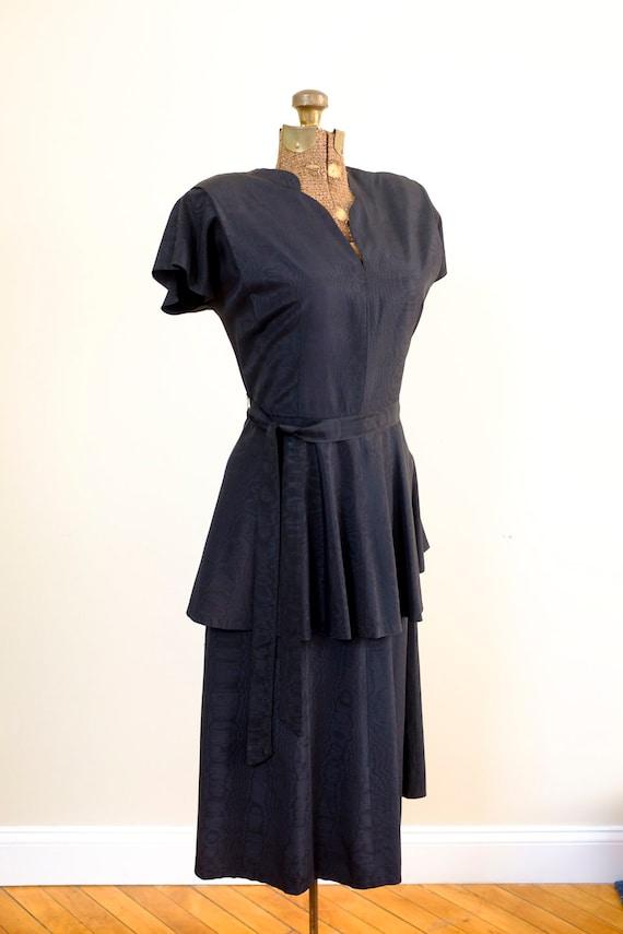 40's Black Peplum Moiré Dress/Small/Medium - image 8