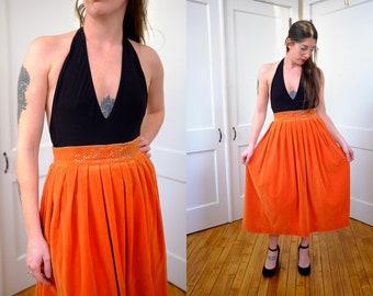 """50's Orange Velvet Midi Skirt, 1950's 50's Rhinestone Velvet Formal Skirt, Vintage Orange Halloween Skirt 24"""" Waist XS"""