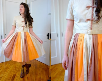 50's Color Block Autumn Orange Brown Beige Belted A-Line Dress-SMALL