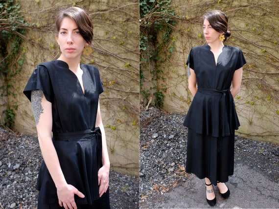 40's Black Peplum Moiré Dress/Small/Medium