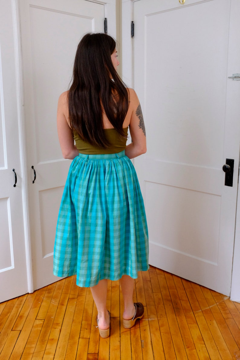 Moss Green and Aqua Plaid Button Down and Belted Skirt-XS Small