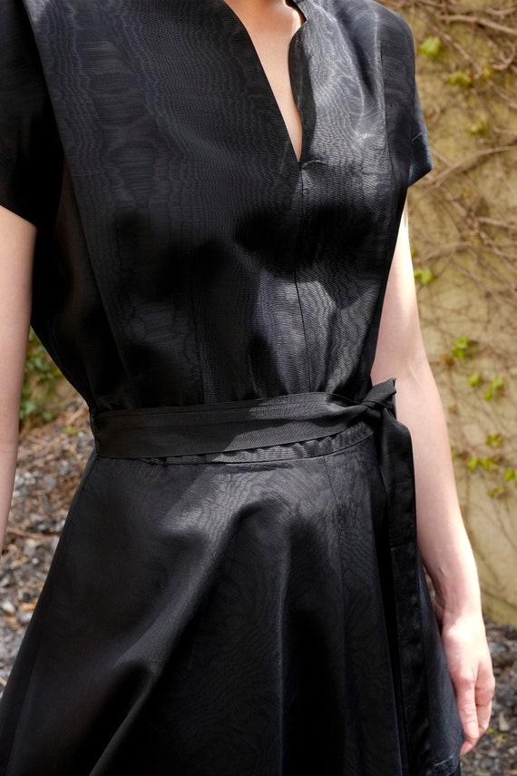 40's Black Peplum Moiré Dress/Small/Medium - image 3