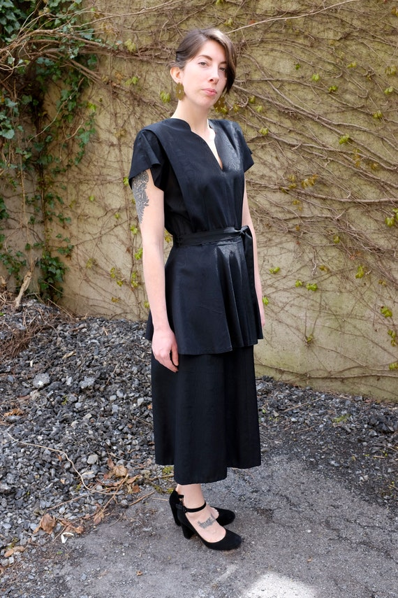 40's Black Peplum Moiré Dress/Small/Medium - image 6