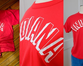 Vintage 80's Indiana Tee Shirt/Red Vintage Graphic Tee/Small S Vintage Novelty Shirt Retro Worn Tee