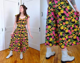 90s Rayon Jumpsuit, Vintage Floral 1990's Style Cropped Wide Leg Jump Suit, 90's Colorful Summer Small Palazzo Pants