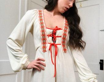 Bohemian Laced Bodice Cotton Knit Maxi Dress/Med
