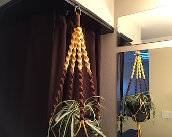 Macrame Plant Hanger Sunshine yellow and Chocolate Brown