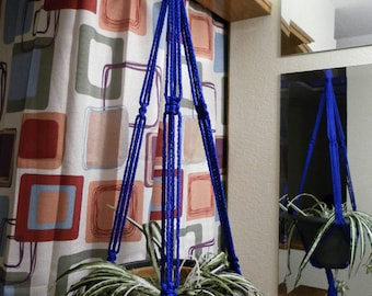 """Short Macrame Plant Hanger 30"""" or 35"""" Long Made in USA Royal Blue Forest Green Wine and Burgundy White Black"""