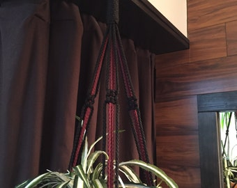 """Macrame Plant Hanger 35"""" 40"""" 50"""" 60"""" 70"""" Long Made in USA Burgundy and Black"""
