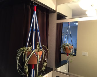 """Patriotic X-tra Long Macrame Plant Hanger 60"""" or 65"""" Long Made in USAAmerican Flag Red White Blue Naturalization 4th of July"""