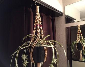 "Short Macrame Plant Hanger 30"" Long Beads Made in USA Sand"
