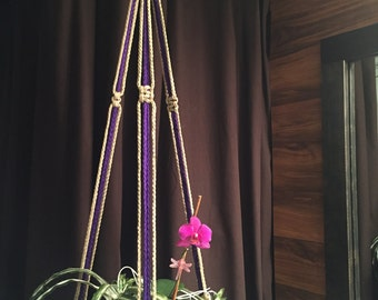 """Macrame Plant Hanger 35"""" 40"""" 50"""" 60"""" 70"""" 80"""" 90"""" Long Made in USA Purple or Sand"""