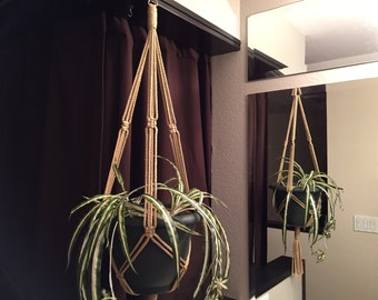 """X-tra Long Macrame Plant Hanger 60"""" to 90"""" Long Made in USA Black White Sand Forest Green"""