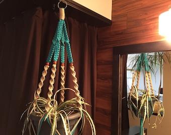 Macrame Plant Hanger Turquoise and Sand Walnut BEADS