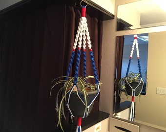 Macrame Plant Hanger Patriotic American Flag Colors Blue White Red  4th of July Naturalization Gift