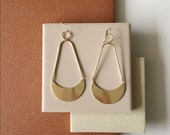 Crescent Dangles. Statement earrings. Bold Modern Earrings. Long Hoops. Bold Gold Earrings.