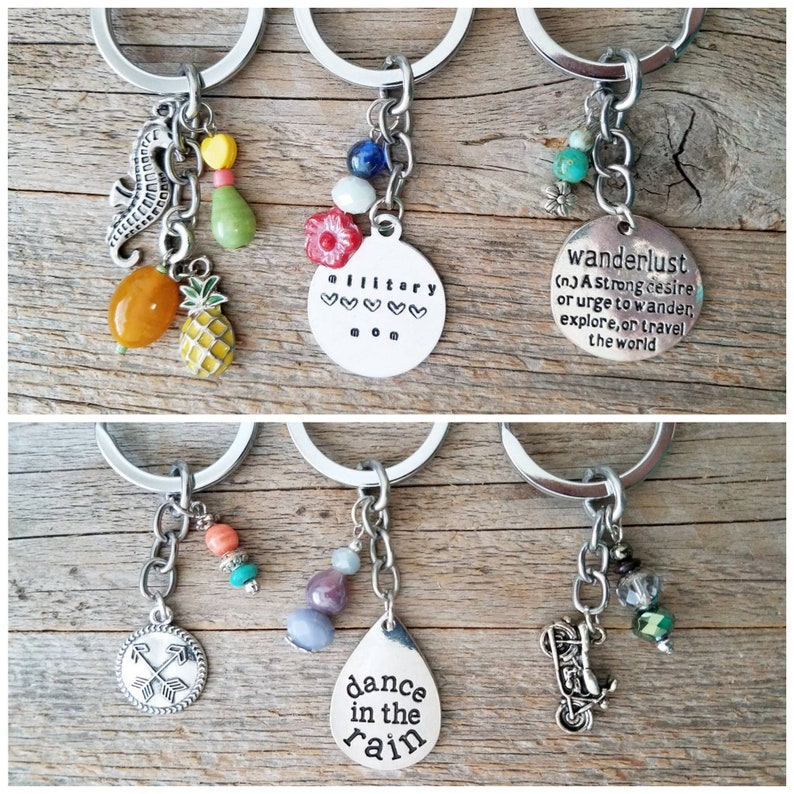 Keychains, keychain, beaded keychain, handmade keychains, metal stamped  keychain, military mom, tropical, pineapple keychain, purse charms