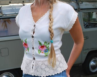 Vintage Crochet Embroidered Blouse