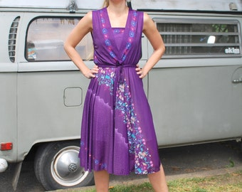 Vintage Purple Sheer Asian Print Dress