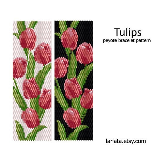 Instant Download! EVEN COUNT PEYOTE Tulips Peyote Stitch Tapestry Pattern