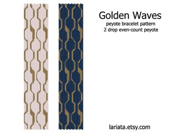 Golden Waves - 2 Drop Peyote Bracelet Pattern INSTANT DOWNLOAD