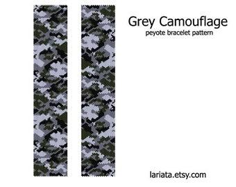 Grey Camouflage - Peyote Stitch Bracelet Beading Pattern - INSTANT DOWNLOAD even peyote patriotic camo military