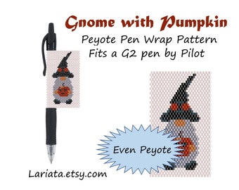 Peyote Stitch Beading Pattern (Pen Wrap/Cover) - Gnome with Pumpkin - instant download