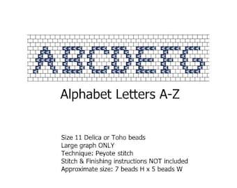 Alphabet Letters A-Z Font peyote stitch beading pattern - INSTANT DOWNLOAD