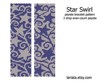 Star Swirl - 2 drop peyote stitch bracelet cuff beading pattern INSTANT DOWNLOAD even count peyote seed bead pattern starry curl Christmas