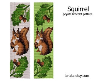 Squirrel - peyote stitch bracelet cuff beading pattern - INSTANT DOWNLOAD even count peyote seed bead pattern wild animal squirrel tapestry