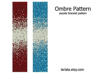 Ombre Pattern - peyote stitch bracelet cuff beading pattern - INSTANT DOWNLOAD even count peyote seed bead pattern gradient iridescent
