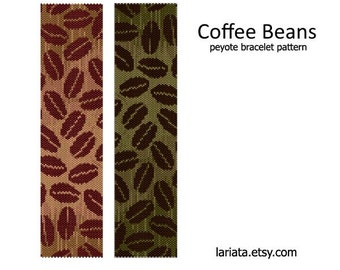 Coffee Beans - peyote stitch bracelet beading pattern - INSTANT DOWNLOAD even count peyote design