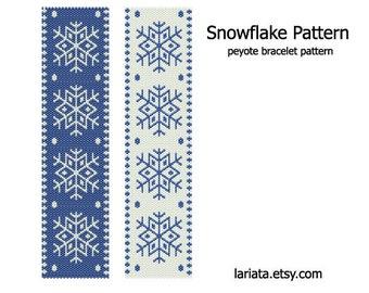 Snowflake Pattern - peyote stitch bracelet cuff beading pattern - INSTANT DOWNLOAD even count peyote pattern Christmas xmas holiday frozen