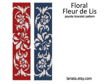 Floral Fleur de Lis - peyote stitch bracelet cuff beading pattern - INSTANT DOWNLOAD even count peyote seed bead pattern lily flower blossom