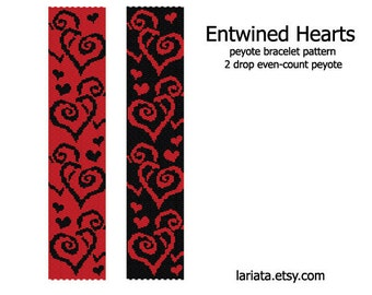 Entwined Hearts - 2 Drop Peyote Stitch Bracelet Cuff Bookmark Beading Pattern - INSTANT DOWNLOAD