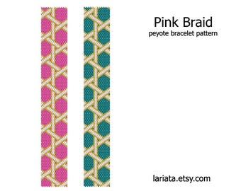 Pink Braid - peyote stitch bracelet cuff beading pattern - INSTANT DOWNLOAD even count peyote pattern