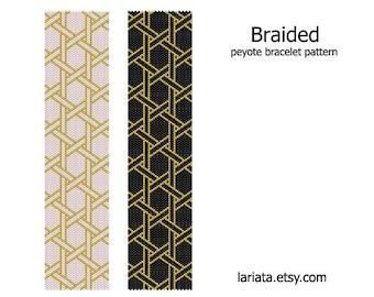 Braided - peyote stitch bracelet cuff beading pattern - INSTANT DOWNLOAD even count peyote design