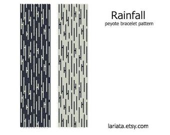 Rainfall - peyote stitch bracelet cuff beading pattern - INSTANT DOWNLOAD even count peyote design