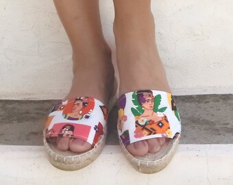 Mexican Print Espadrilles Sandals, Slide Shoes, Open Toe Shoes, Flat Summer Shoes for Women. Handmade Greek Sandals, Gift for Her