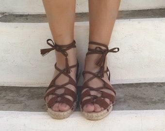 Vegan Gladiator Espadrille Sandals. Summer Flat Shoes. Handmade Faux Suede Greek Sandals. Boho Women's Shoes. Gift for Her. Alpargatas