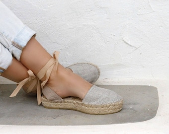 ESPADRILLES SANDALS in Beige. Flatform Sole. Women's Platform Shoes. Greek Handmade Sandals.